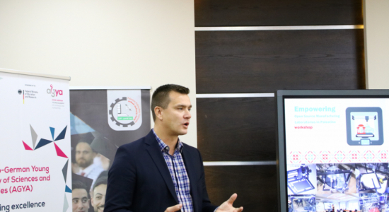 Palestine Polytechnic University (PPU) - The Arab-German Young Academy, Palestine Polytechnic University and Helmut Schmidt University conclude a training workshop in the field of open laboratories for the design and manufacture of models in Palestine